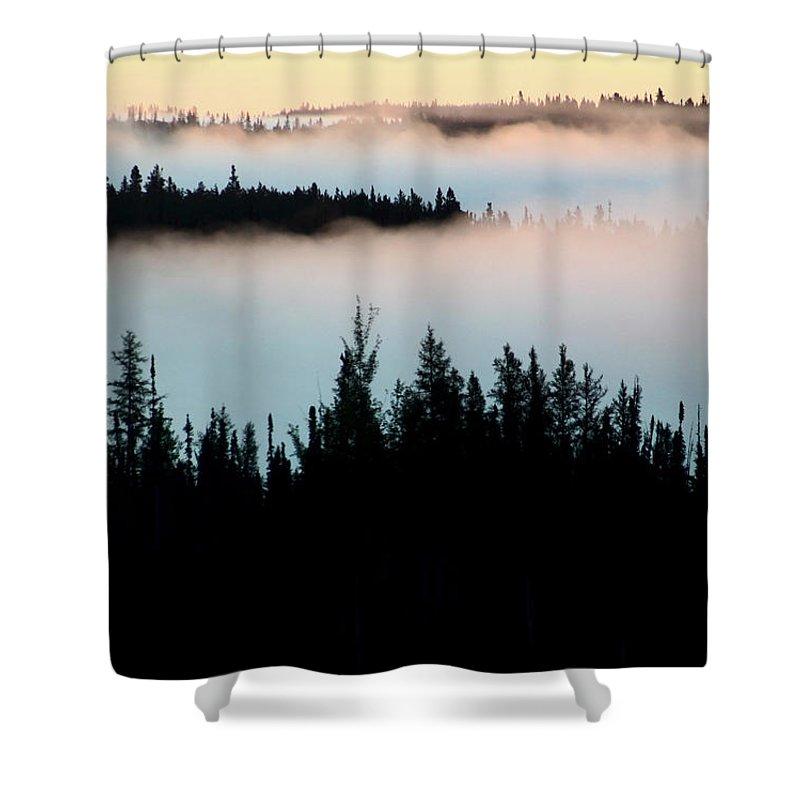 Morning Shower Curtain featuring the digital art Morning Fog In Northern Saskatchewan by Mark Duffy
