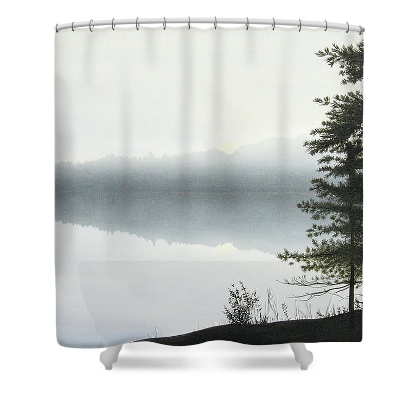 Landscapes Shower Curtain featuring the painting Morning Fog by Kenneth M Kirsch