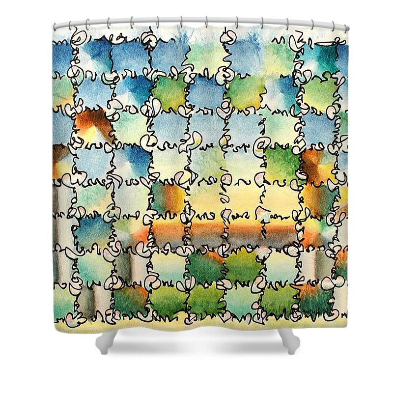 Watercolor Shower Curtain featuring the painting Morning Gateway by Dave Martsolf