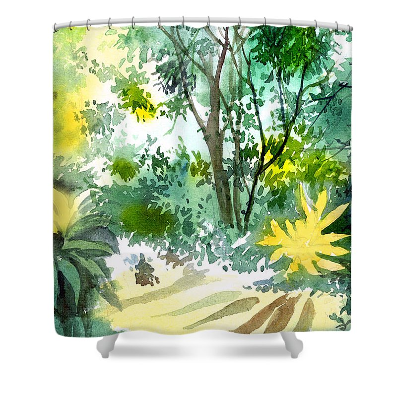 Landscape Shower Curtain featuring the painting Morning Glory by Anil Nene