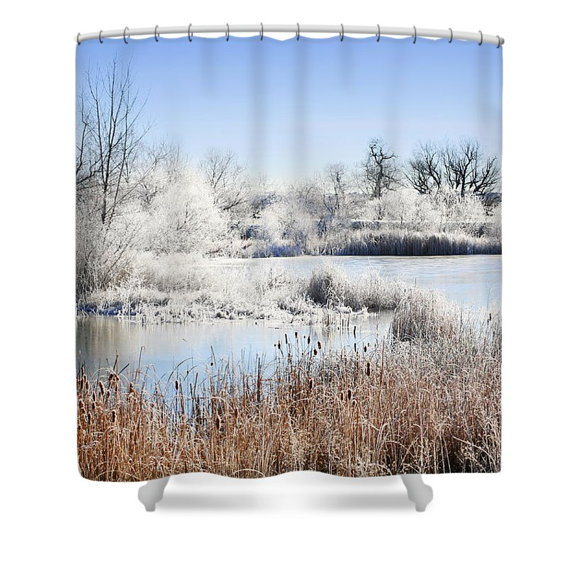 Hoar Frost Shower Curtain featuring the photograph Morning Hoar Frost by Marilyn Hunt