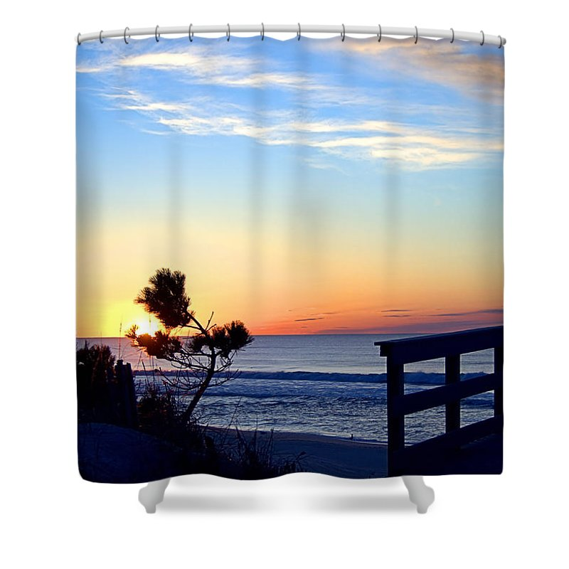 Beach Walk Shower Curtain featuring the photograph Morning I I by Newwwman