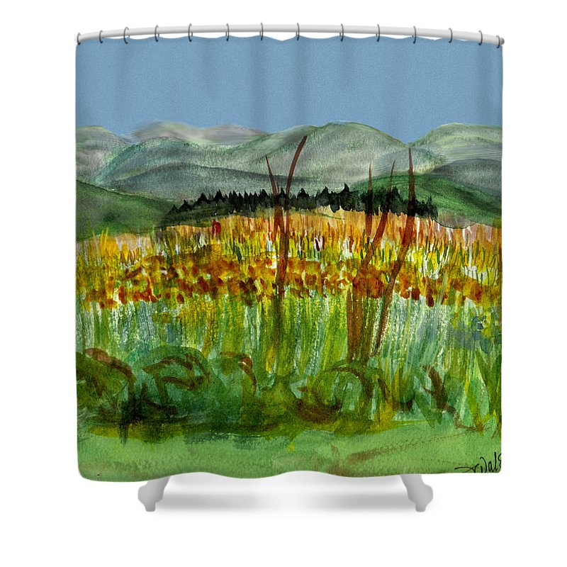 Batrton Vt Shower Curtain featuring the painting Morning In Backyard At Barton by Donna Walsh