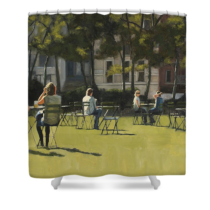 Park Shower Curtain featuring the painting Morning in Bryant Park two by Tate Hamilton