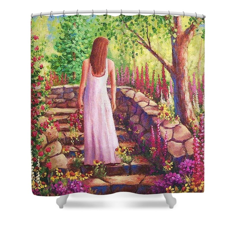 Woman Shower Curtain featuring the painting Morning In Her Garden by David G Paul