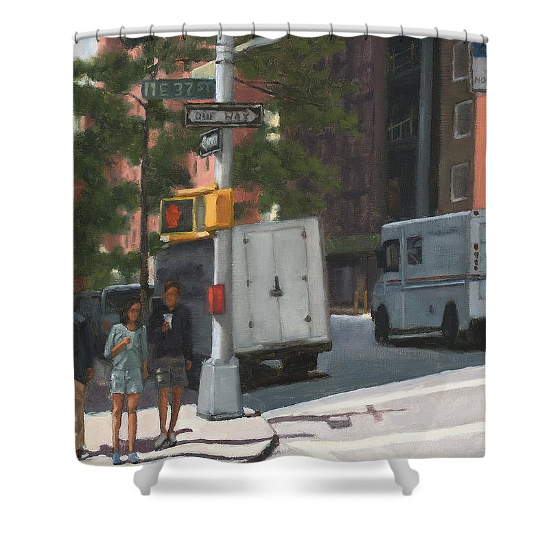 Murray Hill Shower Curtain featuring the painting Morning in Murray by Tate Hamilton