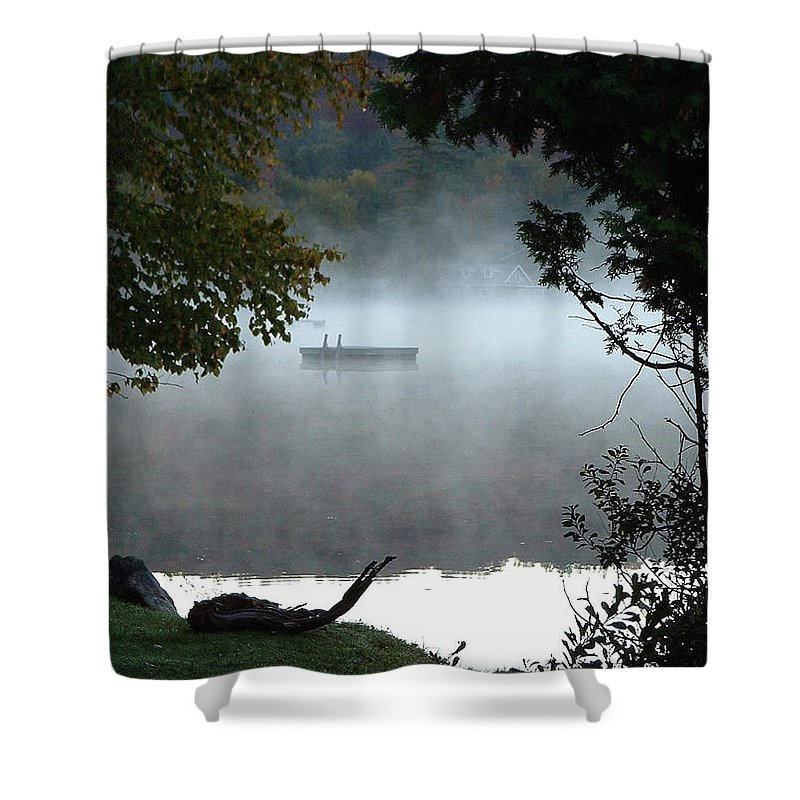 Lakes Shower Curtain featuring the photograph Morning Mist 1008 by Guy Whiteley