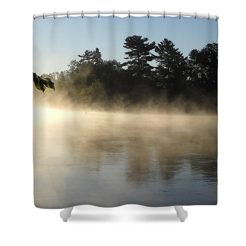 Mist Shower Curtain featuring the photograph Morning Mist Glowing In Sunlight by Kent Lorentzen