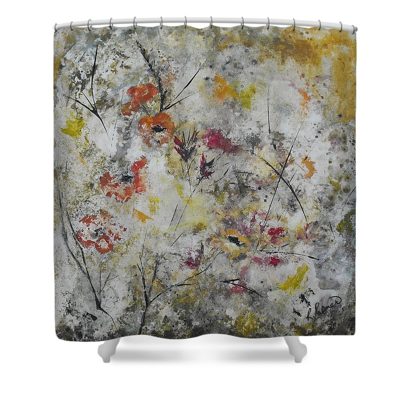 Abstract Shower Curtain featuring the painting Morning Mist by Ruth Palmer