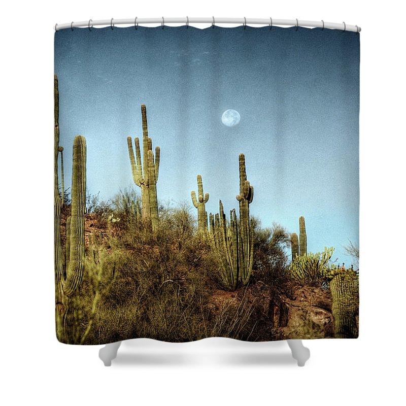 Arizona Shower Curtain featuring the photograph Morning Moon by Saija Lehtonen