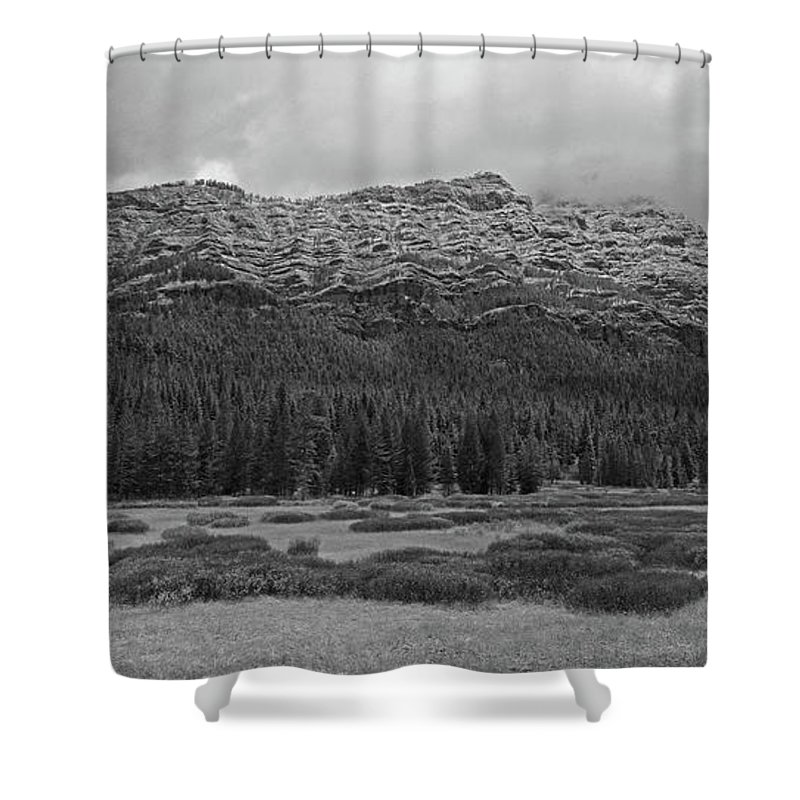 Mountain Shower Curtain featuring the photograph Morning Mountains In Yellowstone by Vincent Wille