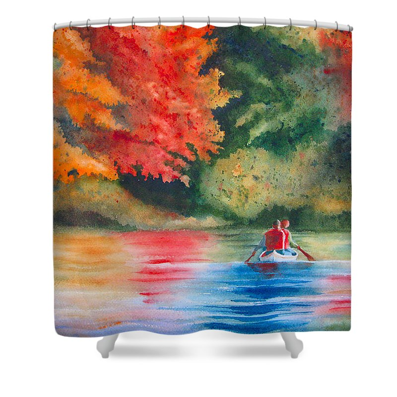 Lake Shower Curtain featuring the painting Morning On The Lake by Karen Stark