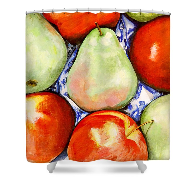 Apples Shower Curtain featuring the painting Morning Pears and Apples by Mary Chant