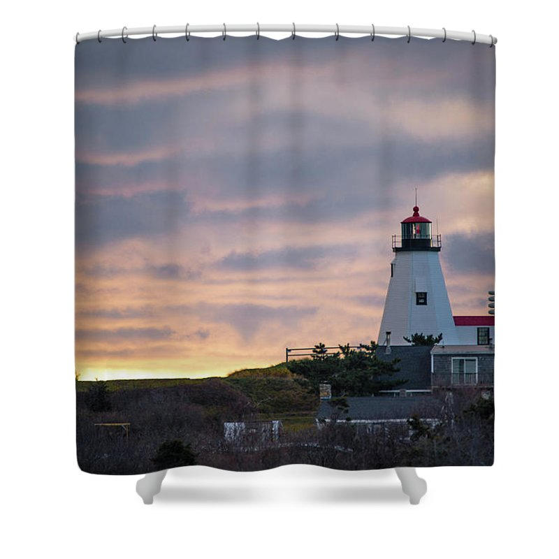 Light House Shower Curtain featuring the photograph Morning Rays by Michael Koski