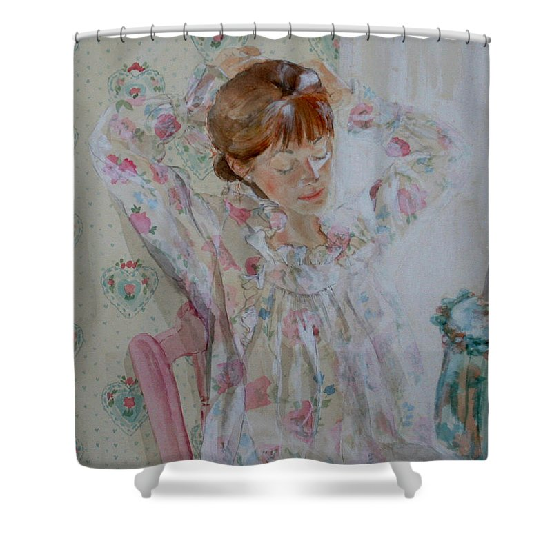 Morning Shower Curtain featuring the painting Morning Ritual by Jean Blackmer