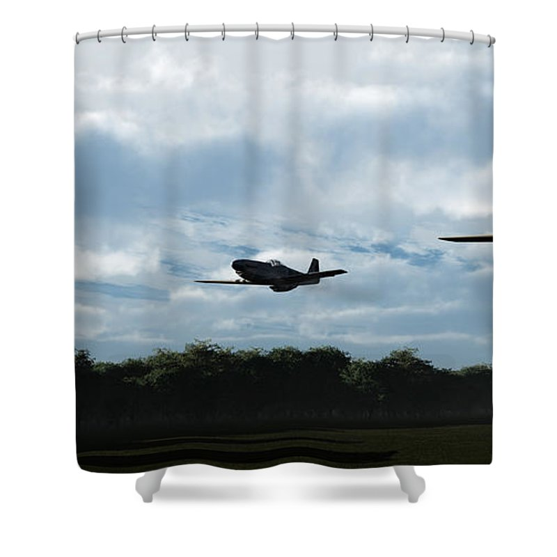 Aircraft Shower Curtain featuring the digital art Morning Run by Richard Rizzo