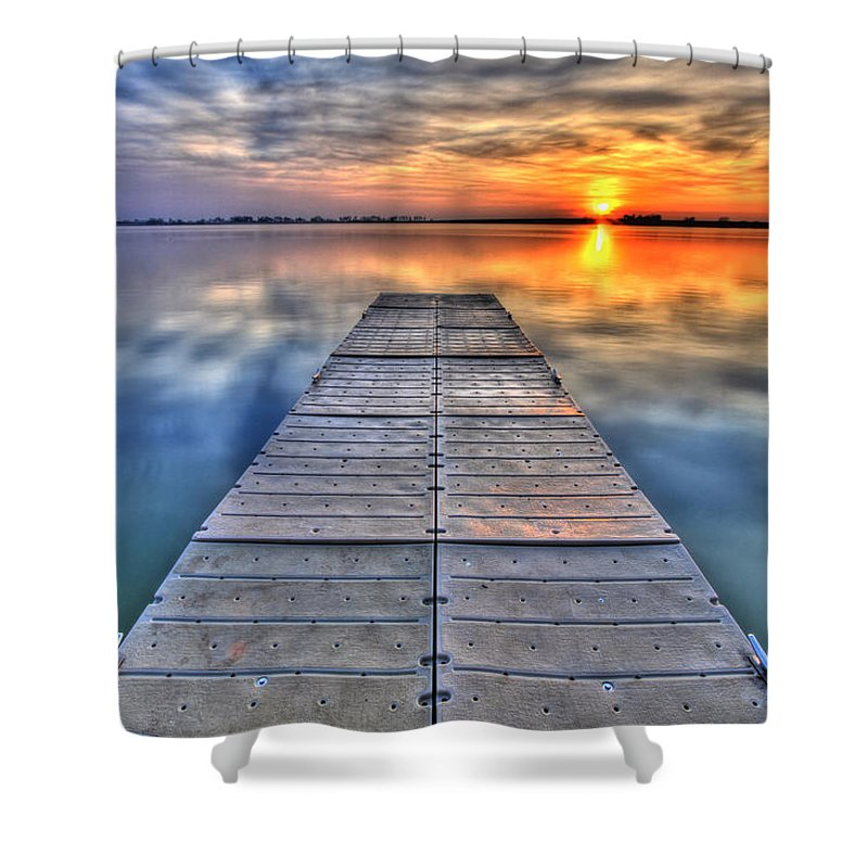 Dock Shower Curtain featuring the photograph Morning Sky by Scott Mahon