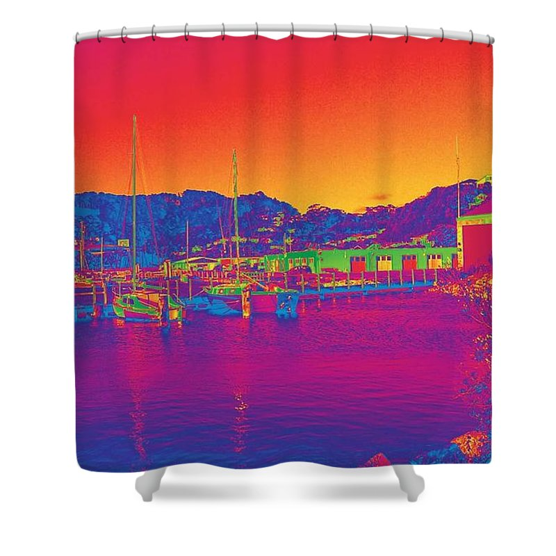 Landscape Shower Curtain featuring the digital art Morning Sky by Tina-Marie Art addiction