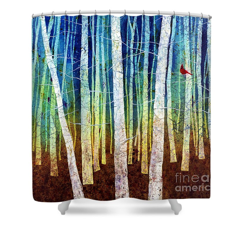 Cardinal Shower Curtain featuring the painting Morning Song I by Hailey E Herrera