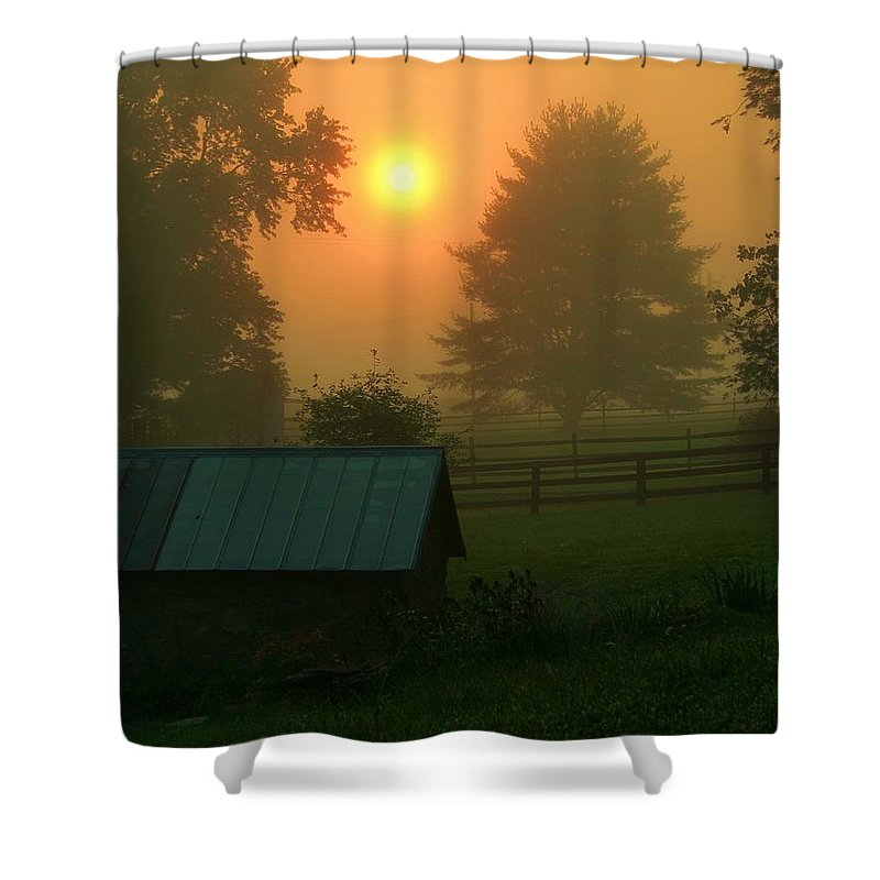 Landscape Shower Curtain featuring the photograph Morning Star by Mitch Cat