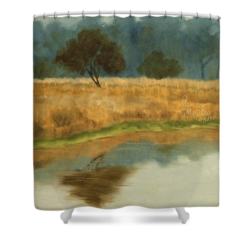 Landscape Shower Curtain featuring the painting Morning Still by Mandar Marathe