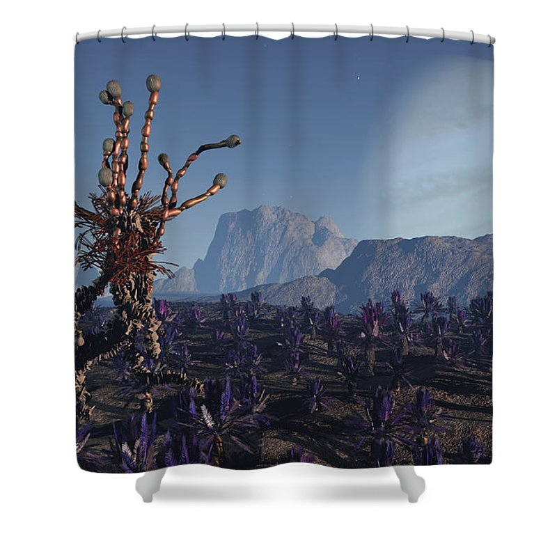 Alien Shower Curtain featuring the digital art Morning Stroll by Richard Rizzo