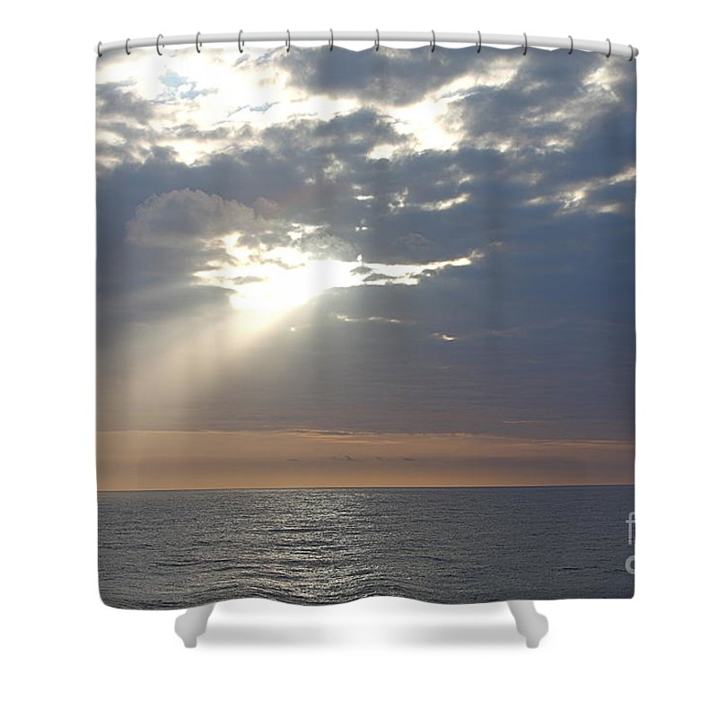 Sky Shower Curtain featuring the photograph Morning Sunburst by Nadine Rippelmeyer