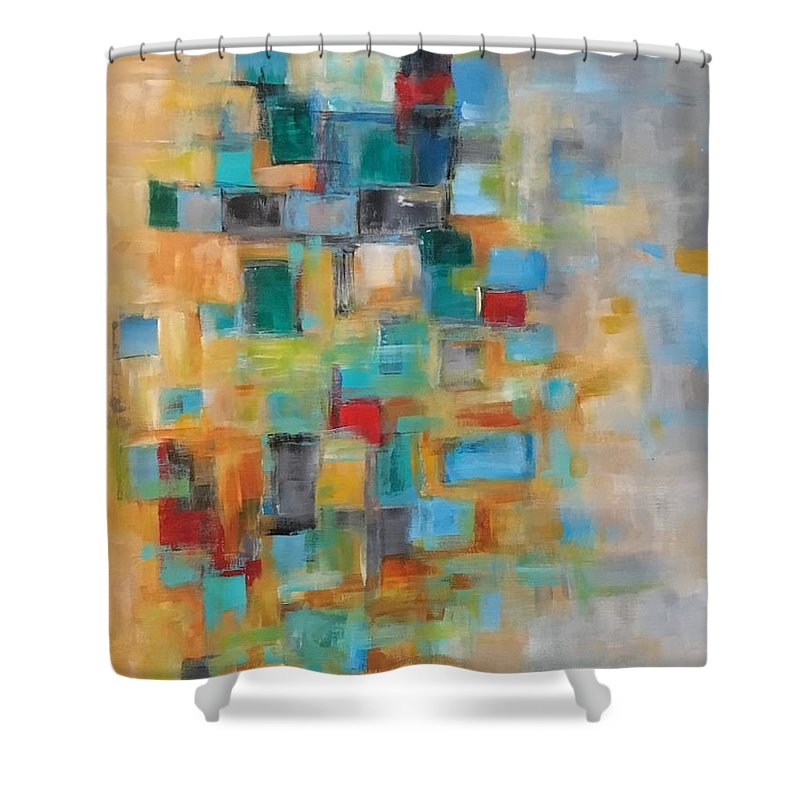 Acrylic Abstract Shower Curtain featuring the painting Morning Sunrise #2 by Suzzanna Frank
