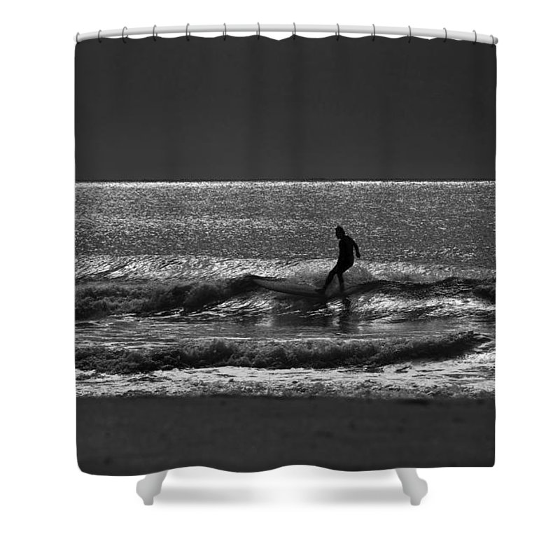 Surfer Shower Curtain featuring the photograph Morning surfer by Sheila Smart Fine Art Photography