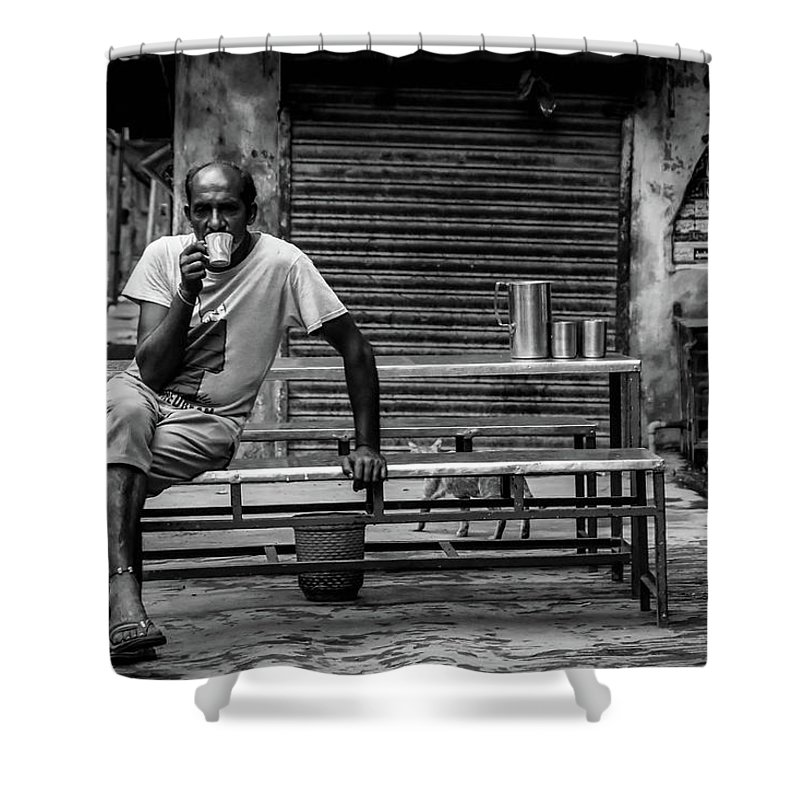 A Man Having His Morning Tea In Old Lahore City Shower Curtain featuring the photograph Morning Tea by Hanif Khan