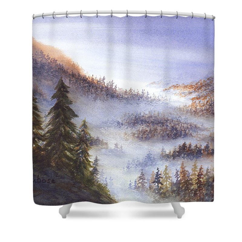 Nature Shower Curtain featuring the painting Morning Vista by Darrell Dubose