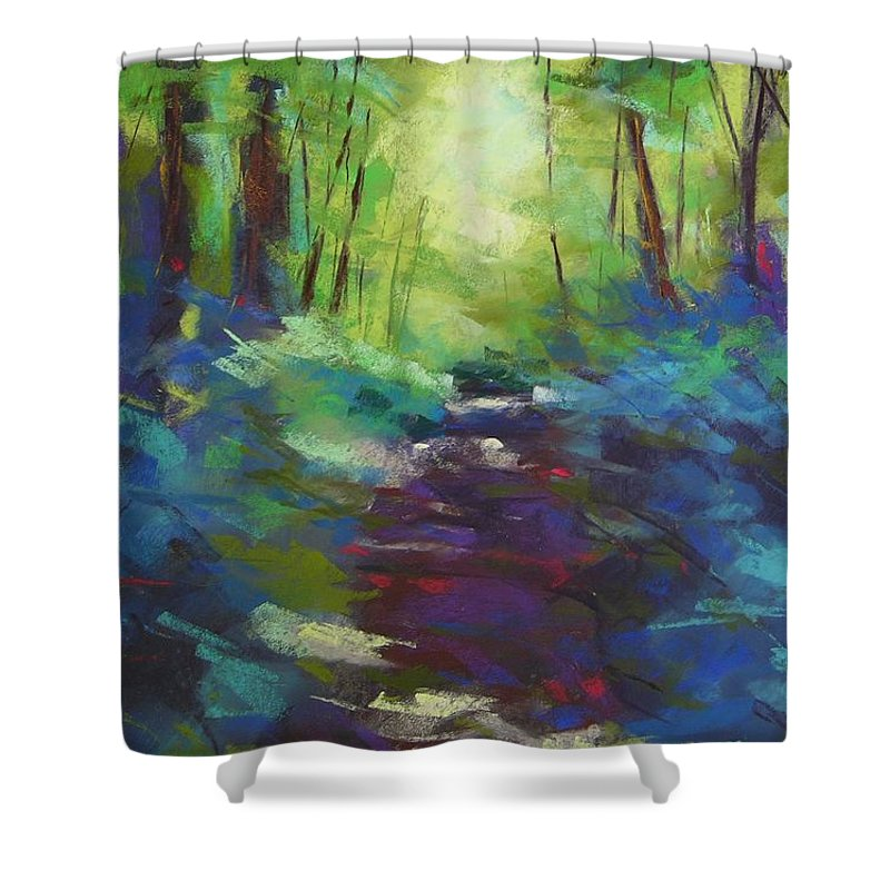 Pastel Shower Curtain featuring the painting Morning Walk I by Mary McInnis