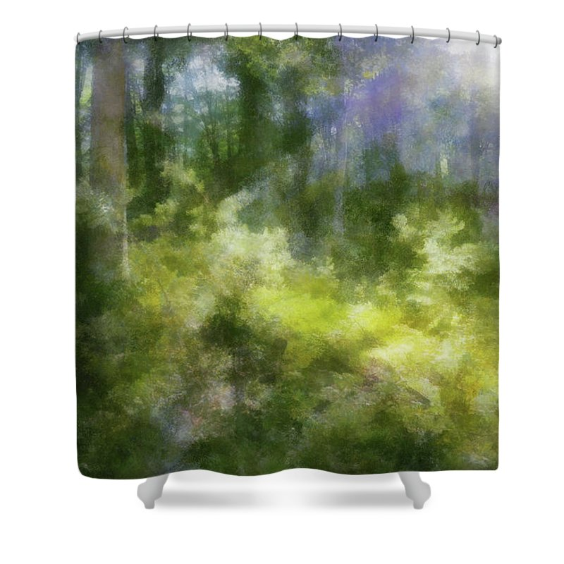 Forest Shower Curtain featuring the digital art Morning Walk In The Forest by Francesa Miller