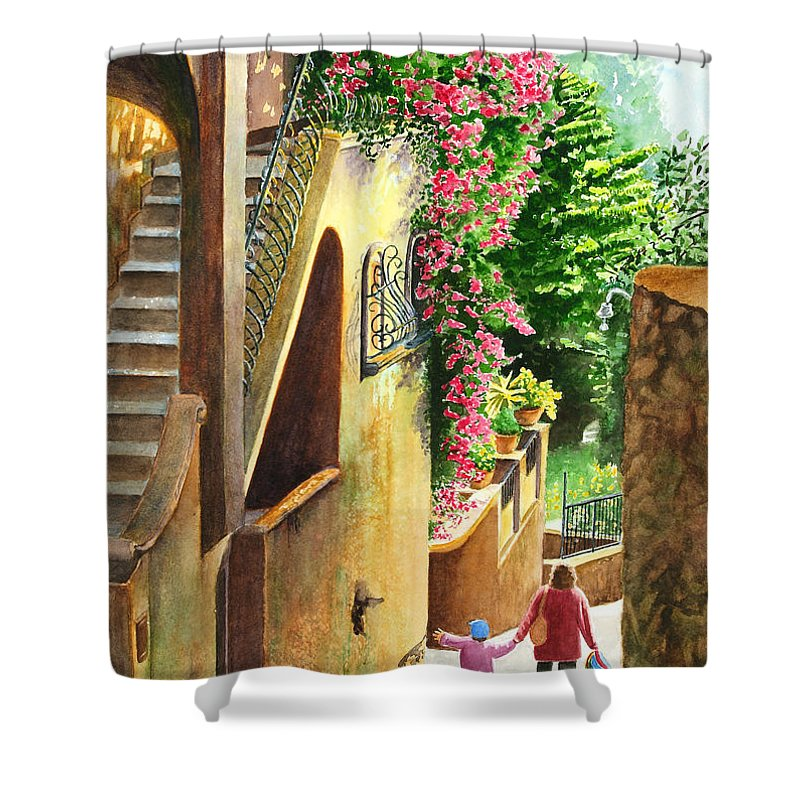 Italy Shower Curtain featuring the painting Morning Walk by Karen Fleschler