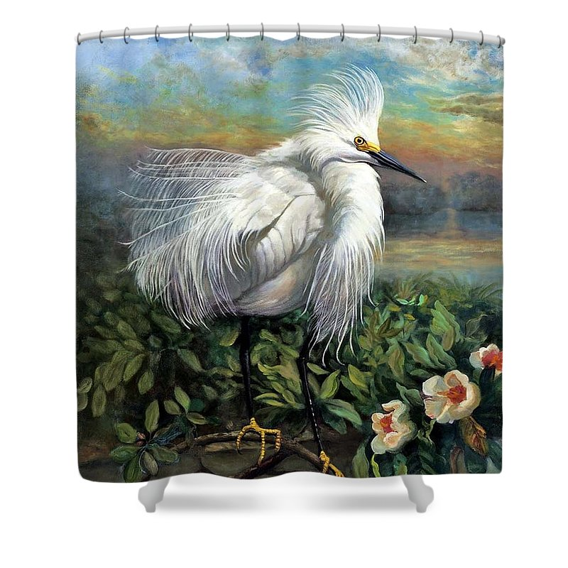 Landscape Shower Curtain featuring the painting Morning Watch by Edward Skallberg