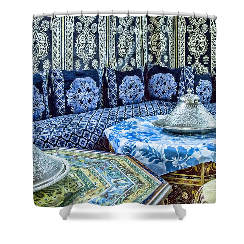 Morocco Shower Curtain Featuring The Photograph Moroccan Restaurant Decor By Lindley Johnson