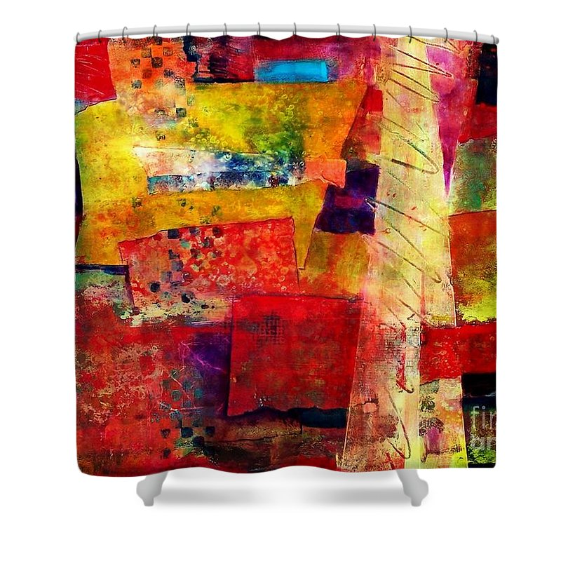 Abstract Expressionism Shower Curtain featuring the painting Moroccan Souk by Donna Frost
