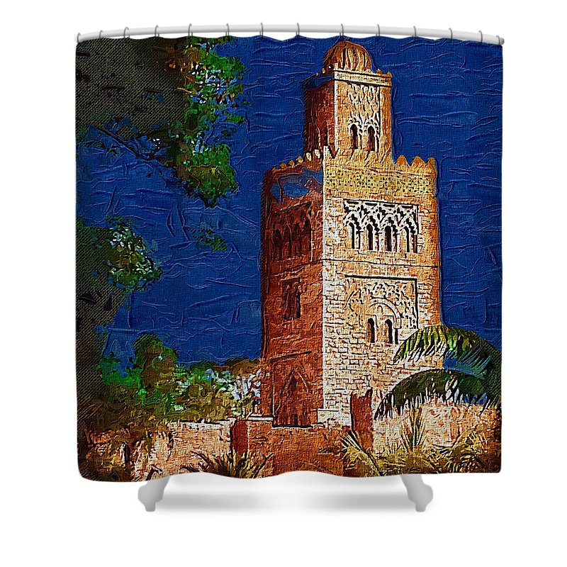 Morocco Shower Curtain featuring the digital art Morocco Pavilion In Epcot by Nora Martinez