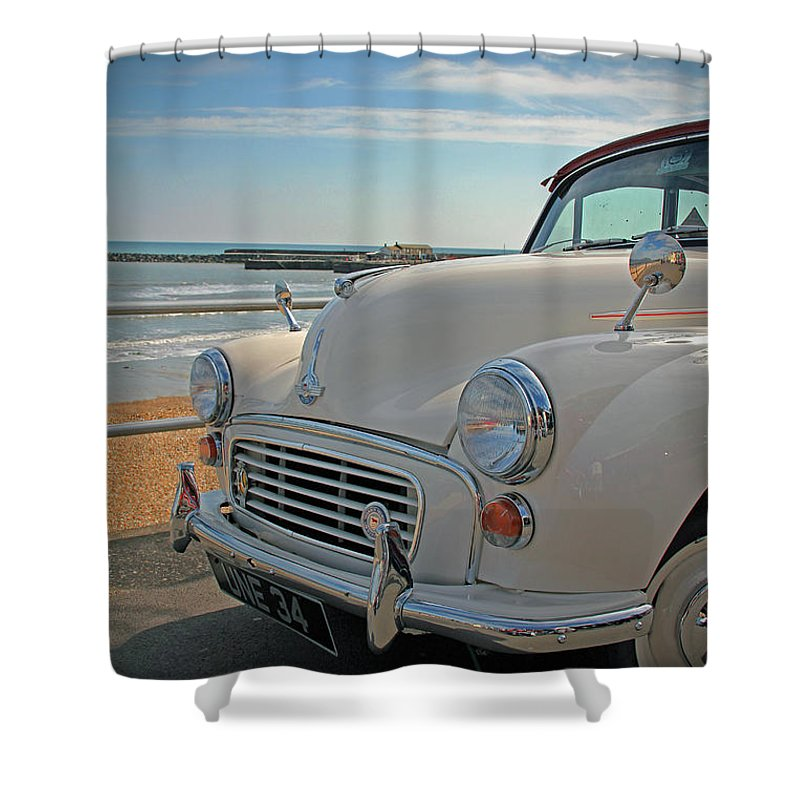 Morris Minor Shower Curtain featuring the photograph Morris Minor at the Beach by Ruth Parsons