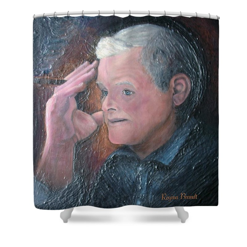 Portrait Shower Curtain featuring the painting Morris by Regina Brandt