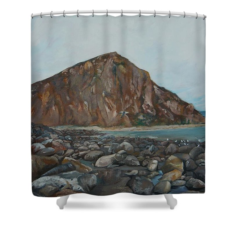 Morro Bay Shower Curtain featuring the painting Morro Rock by Travis Day