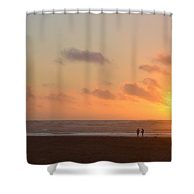Scenic Shower Curtain featuring the photograph Morro Sunset by AJ Schibig