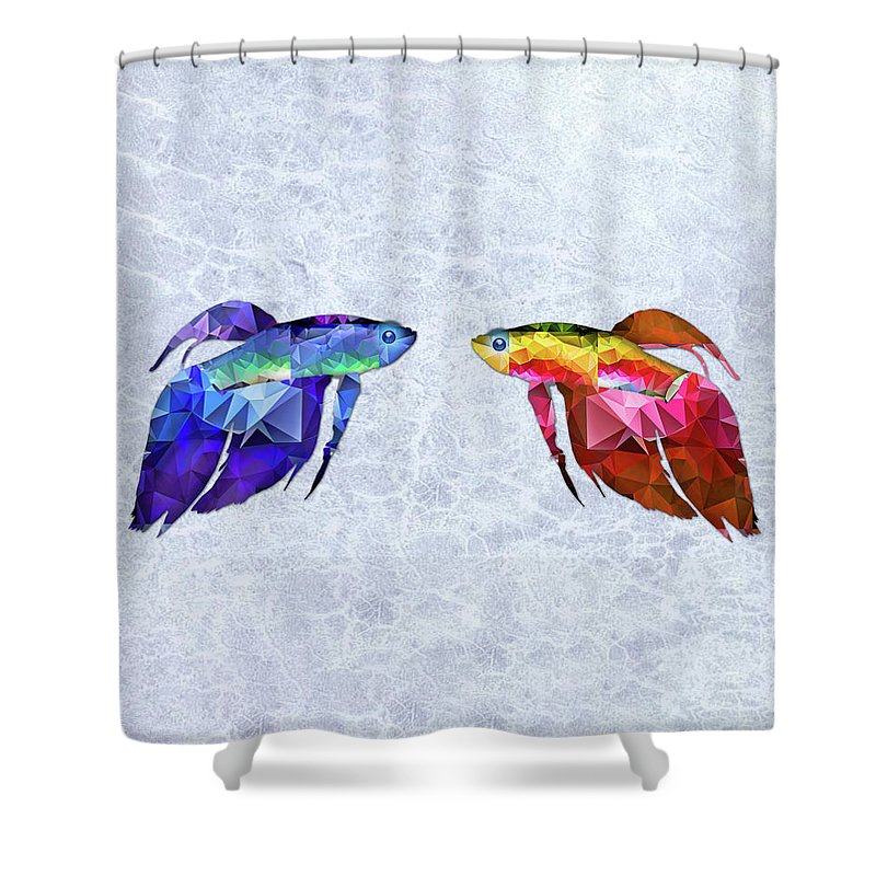 Fish Shower Curtain Featuring The Painting Mosaic Betas Siamese Fighting  Fish On Mottled Blue Water By