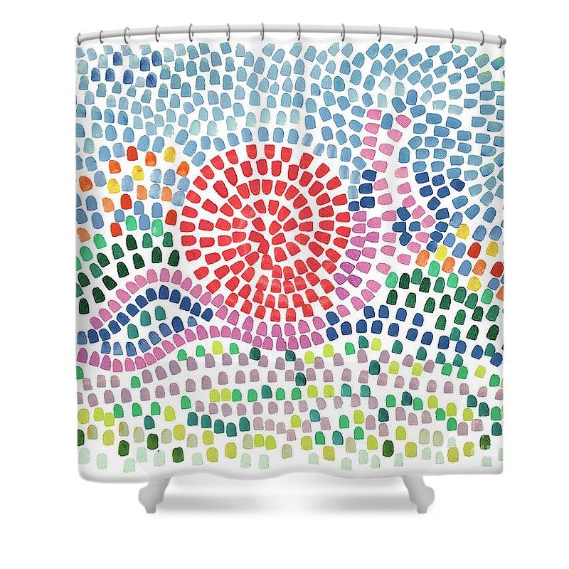 Mosaic Shower Curtain featuring the painting Mosaic by Bjorn Sjogren