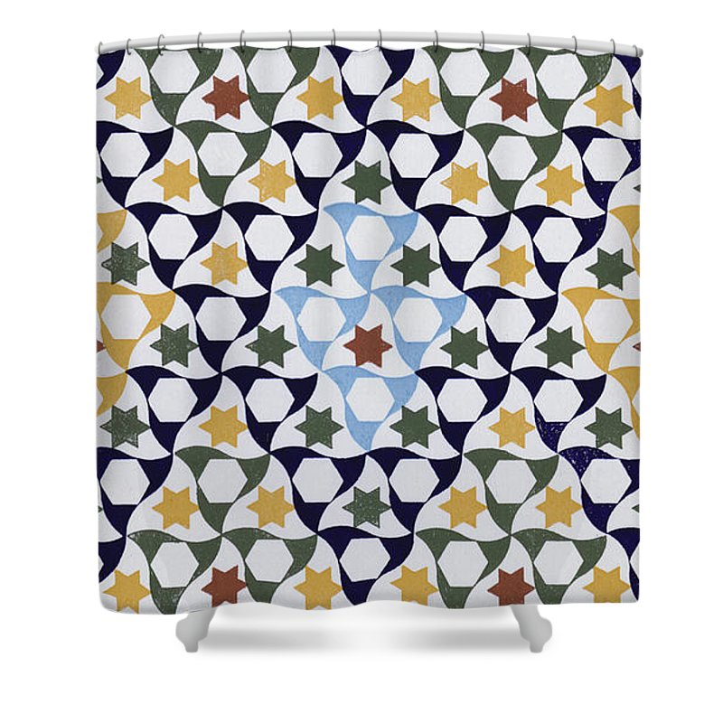 North African Shower Curtain featuring the drawing Mosaic From The Portico Of The Generalife by Spanish School