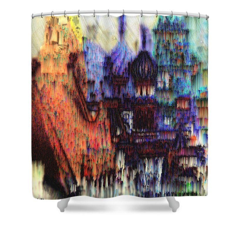 Fog Shower Curtain featuring the digital art Moscow In The Rain by Seth Weaver