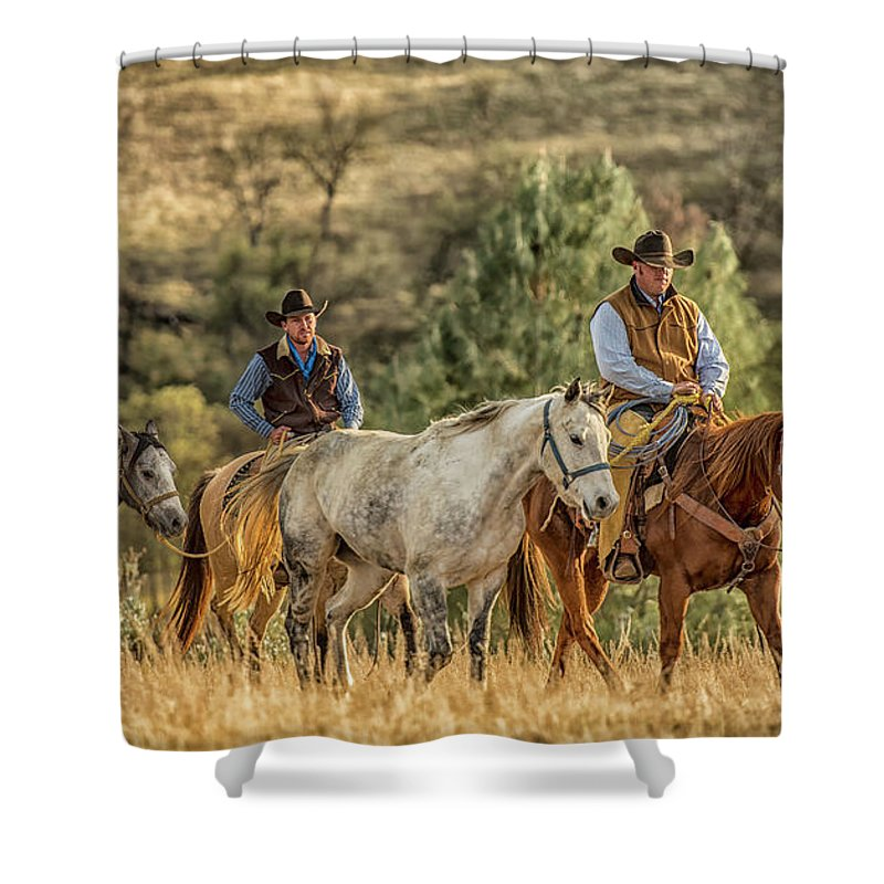 Horse Shower Curtain featuring the photograph Moseying Along by Freddie Bommer II