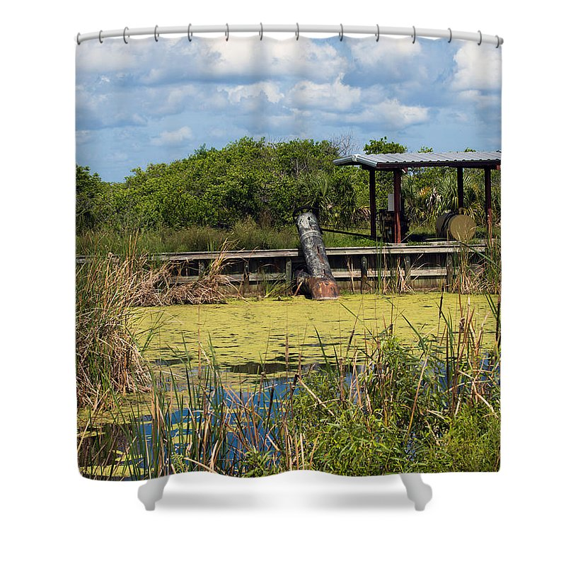 Florida; Mosquito; Coast; Flood; Flooding; Water; Salt; Marsh; Impoundment; Impound; Contain; Pond; Shower Curtain featuring the photograph Mosquito Impoundement In Florida by Allan Hughes