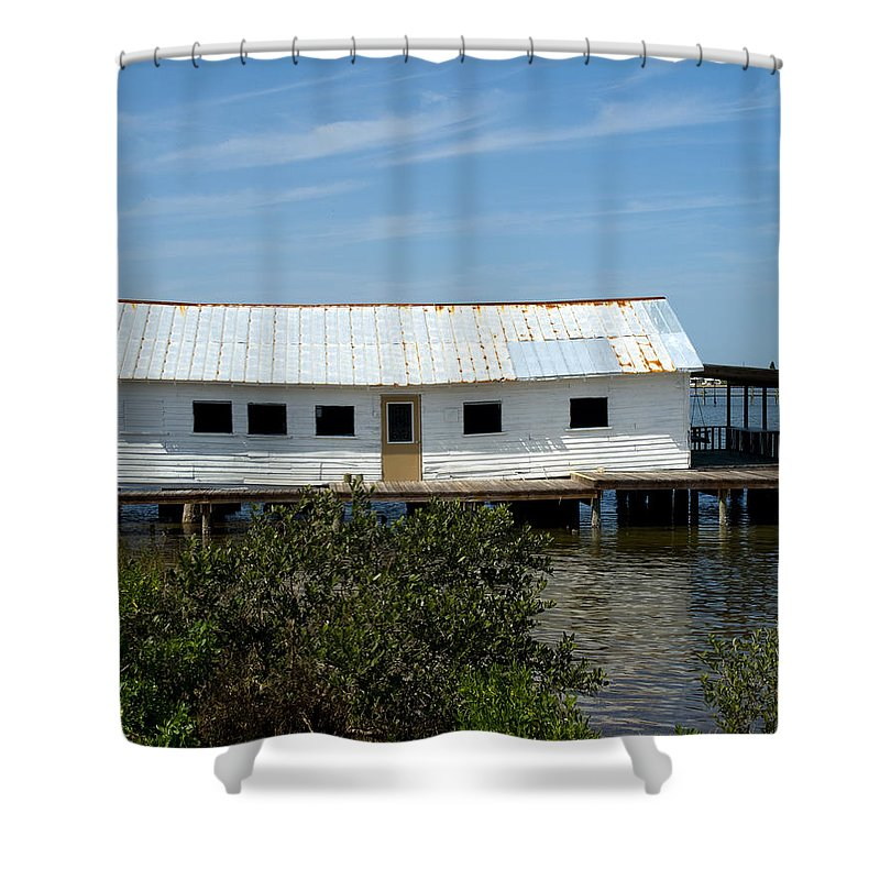 Florida; Oak; Hill; Mosquito; Lagoon; Old; Abandoned; Fish; House; Processing; Dock; Pier; Wharf; Bo Shower Curtain featuring the photograph Mosquito Lagoon Florida by Allan Hughes