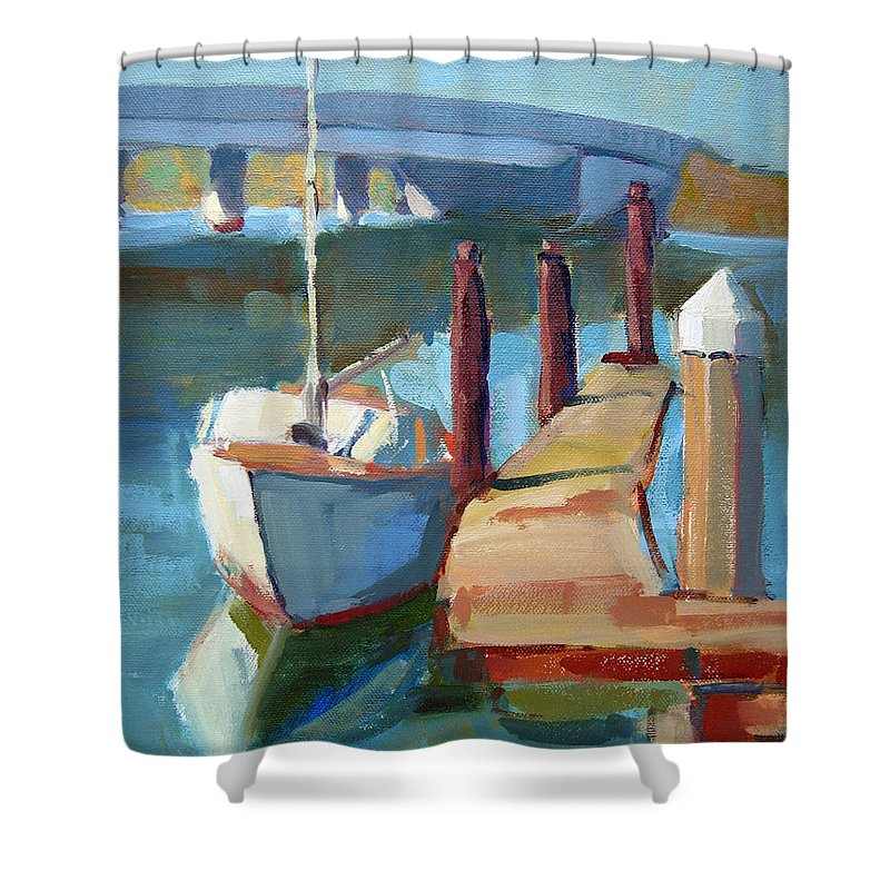 Boat Shower Curtain featuring the painting Moss Landing Morning by Sandra Smith-Dugan